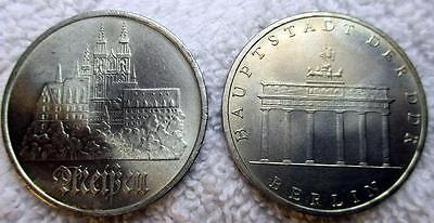 2 East Germany DDR 1971 Hauptstadt Berlin & 1972 Meissen 5 Mark Uncirculated