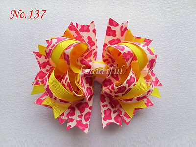 14 BLESSING Good Girl Custom Boutique 5.5 Inch B-Blooming Hair Bow Clip 190 No.