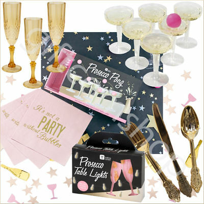 Talking Tables Party Prosecco Pong, Gold Champagne Flute, Gold Cutlery & Napkins