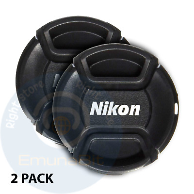 52mm Nikon Lens Cap Front Cover Snap DSLR Camera Pinch 18-55mm 55-200mm 2 pack