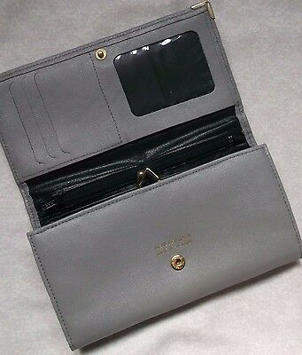 REAL LEATHER VINTAGE GREY PURSE WALLET CARD HOLDER 1970s 1980s RETRO MOD