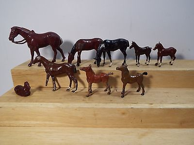 BRITAINS LEAD HAND PAINTED LOT OF 9 each HORSES & COLTS standing and grazing