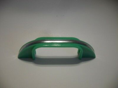 Vintage GREEN Early Plastic DRAWER Pull with CHROME Metal Center Strip Art Deco