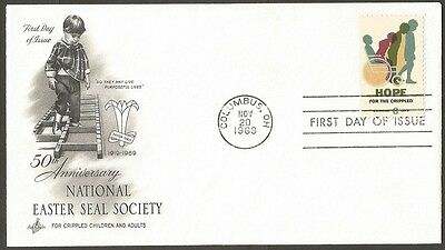 Us Fdc 1969 Hope For The Crippled 6C Stamp Easter Seal Society First Day Cover