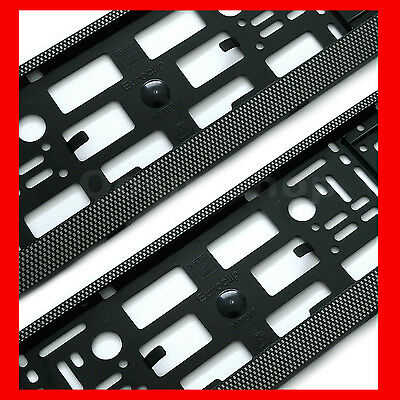 2x CHECKERED EFFECT Registration Number Plate Surround Holder Frame for Seat Car