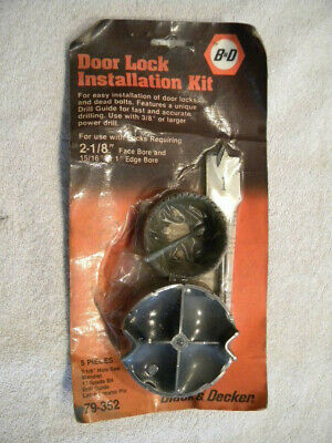 "Vintage Black & Decker Door Lock 2-1/8"" Installation Kit PN 79-352"