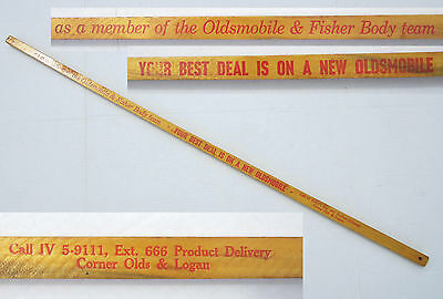OLDSMOBILE Fisher Body Factory Advertising Square Walking Yard Stick Lansing MI