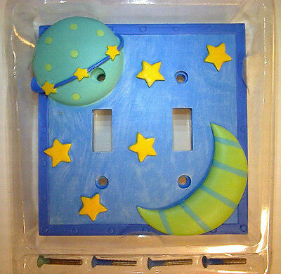 Double Toggle Switch Wall Plate Cover Resin Stars Planet Moon Matching Screws