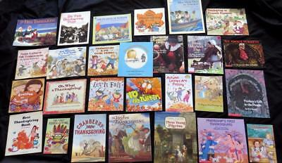 27 THANKSGIVING Pilgrim Turkey Indian Plymouth Fall children BOOK LOT teacher