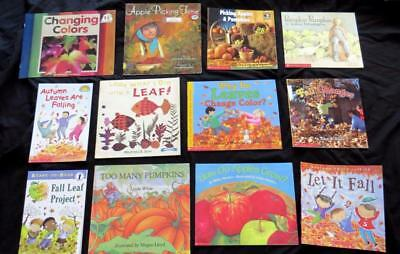 12 FALL AUTUMN SEASON Leaves Pumpkin children picture BOOK LOT teacher resource
