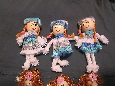 * 3 x Tiny Girl Dolls *- craft , baby shower , decorations ,  country , kids
