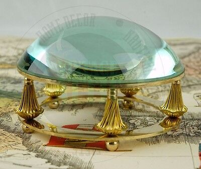 Vintage Nautical Marine Navigation Brass Desk Magnifying Glass Paperweight Decor