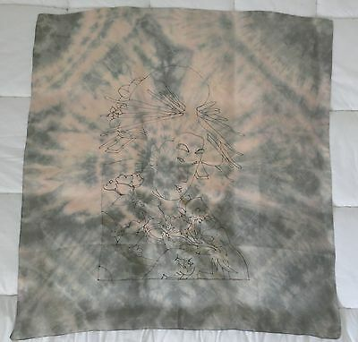 Gorgeous tie-dyed vintage silk scarf with geisha sketch