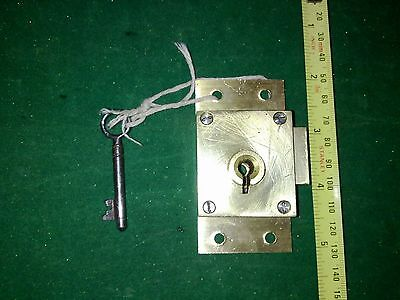 brass cupboard, wardrobe, cabinet lock and key ,surface mount, 4 lever,  robust