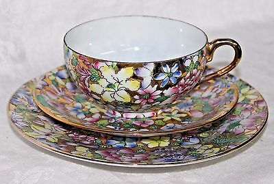 Floral Gold Tea Cup Saucer Plate, Trio ACF Japanese Porcelain Ware Hong Kong 3Pc