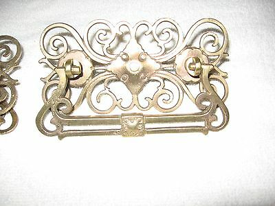 2 Vintage Ornate Brass Drawer Pulls
