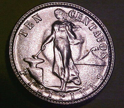 1945-D Philippines 10 Cent minted in the U.S. ~Gem Uncirculated  ☆Make An Offer☆