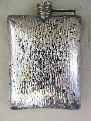VINTAGE COLLECTIBLE P S Co 10 OZ, PREISNER HAND HAMMERED SILVER PLATED FLASK
