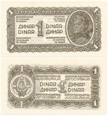 1943-44 DURING WORLD WAR II Choice, Never Used COMMUNIST YUGOSLAVIA 1 DINAR Note