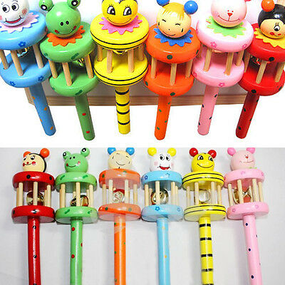 Baby Wooden Musical Instrument Toy Rattle Jingle Hand Bell Ring Kid Infant Gift