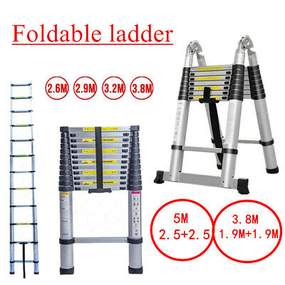 3.8M  5.0M Multi-Purpose Aluminium Telescopic Ladder Extension Extendable 150KG