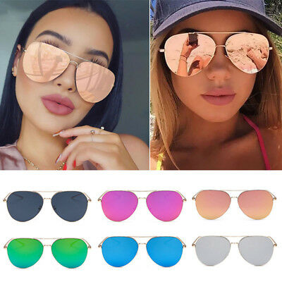Women's Metal Flat Lens Glasses Oversized Fashion Vintage Mirrored Sunglasses