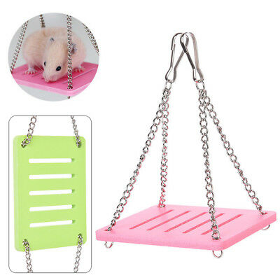 Small Pet Hamster Parrot Rat Mouse Cage Wooden Hanging Swing Suspension Toy