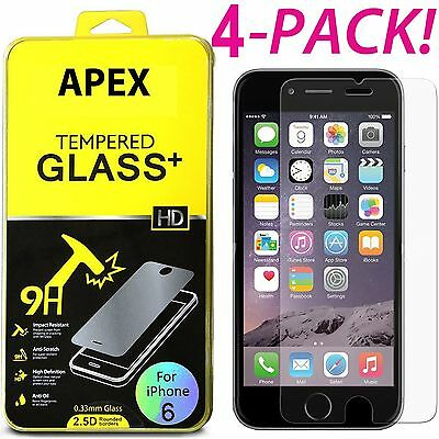 4x Premium Real Screen Protector Tempered Glass Film For iPhone 6 6s 7 8 Plus