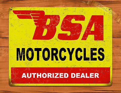 "TIN SIGN ""BSA Motorcycles"" Auto Vintage Garage Wall Decor Man Cave"