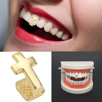 14K Gold Plated Universal Hip Hop Single Tooth Teeth Brass Cross Grill