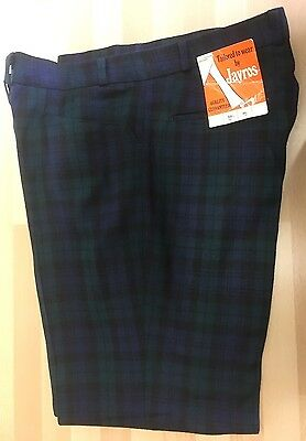 True Vintage Black Watch Tartan Golf Trousers 1970s Wool Blend NOS UNWORN 36""