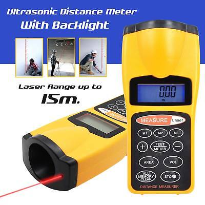 Ultrasonic Digital Laser Distance Meter Range Finder Measure Tape Diastimeter UK