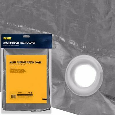WATER RESISTANT PLASTIC SHEET +EYELETS Dust Paint Furniture Cover Decorator 1.8M