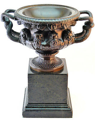 FERDINAND BARBEDIENNE SIGNED ANTIQUE 19thC FRENCH BRONZE WARWICK VASE ON MARBLE
