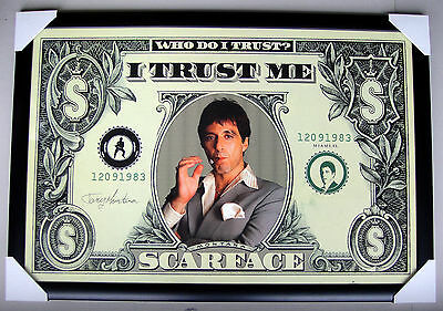 """SCARFACE framed POSTER """"Dollar bill"""" READY TO HANG """"LARGE"""" AL PACINO"""