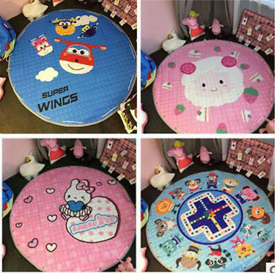 Portable Soft  Round Baby Kids Play Mat Cartoon Rug Crawling Blanket Storage bag