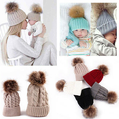 Warm Winter Mom&Newborn Baby Boy Girl Hats Crochet Knit Hairball Beanie Cup 2PCS