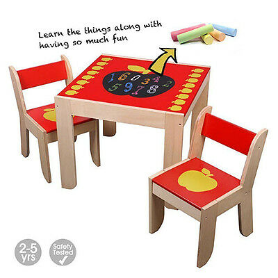 Labebe Red Apple Wooden Table and 2 Chairs Set Student Table Toddler XMAS Gift