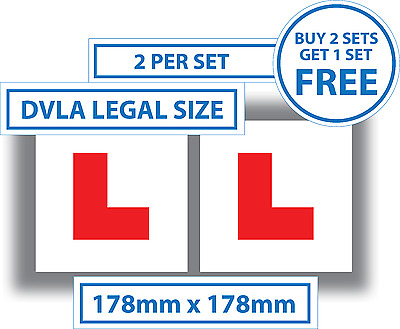 2 x Learner Driver L Plate Stickers Legal Size L Plates Car Window Bumper Vinyl