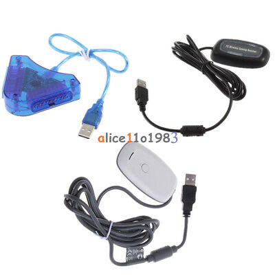 Wireless USB 2.0 Gaming Receiver-Controller Adapter PC for Xbox 360 White/Black