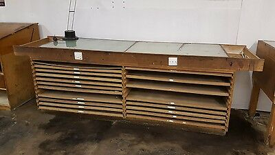 Industrial vintage architects desktop drawers cabinet work bench light box table