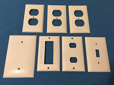 Lot of 7 Assorted Wall Cover Plates IVORY RIBBED Bakelite SIERRA Electric
