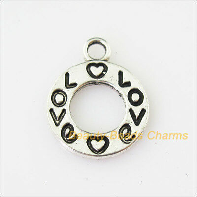 15 New Round Circle Love Tibetan Silver Tone Charms Pendants 15x19mm