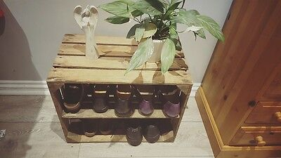Shabby Chic Wooden Shoe Rack Handmade Vintage Style Cottage Storage Apple Crate