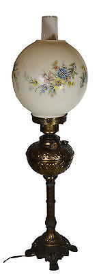 "30"" Antique Electric Plume Atwood Ornate Brass Victorian Gas Lamp Painted Globe"