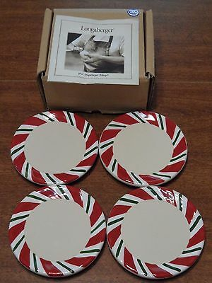Longaberger Pottery Peppermint Twist Coasters Set of 4 In Box