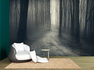 Fog Night Black & White Trees Forest Wall Mural Photo Wallpaper GIANT WALL DECOR