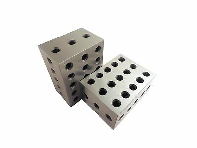 """2-3-4 Blocks Matched Pair (2 each) Hardened Steel RC 55-62 23 Holes (2""""x3""""x4""""..."""
