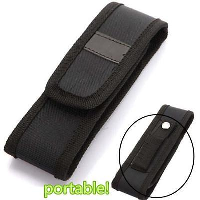 Black 16cm Nylon Holster Holder Pouch Case LED Flashlight Light Torch Lamp W[
