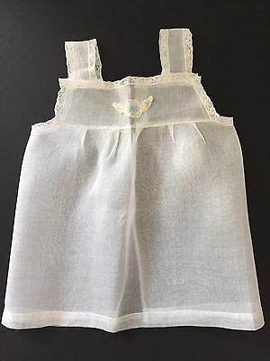 Vintage 1940's Baby Dress White Organdi French Lace Embroidery Excellent